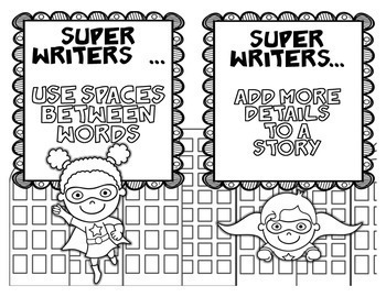 Superhero Writing Process Posters with Writing Statements Posters/Bulletin Board