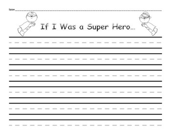 Super Hero Writing Prompt