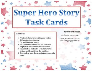 Super Hero Writing Task Cards