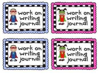 Super Hero Writing and Math Journal Labels