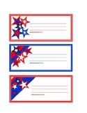Super Hero and Red, White, Blue Star Themed Student Name Plates