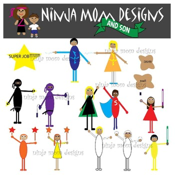 Super Hero and Ninja Clip Art- Kid Inspired and Drawn- Color and Black Line