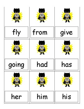 Super Hero cards game Dolch words  first/ second grade