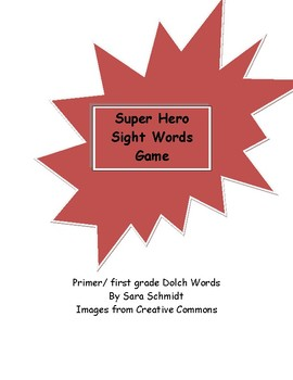 Super Hero cards game Dolch words primer/ first grade