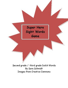 Super Hero cards game Dolch words second / third grade