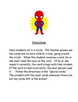 Super Hero cards game frequently read nouns