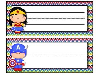 Super Hero themed desk nameplates