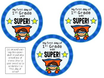 Super Hero Themed Brag Tags {1st Day Back to School}  Necklace FREEBIE!