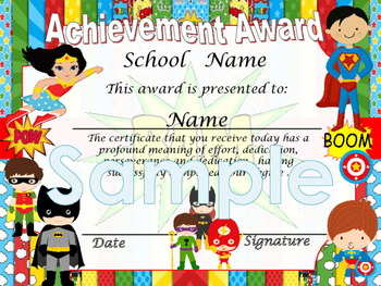 Super Heroes Achievement award English / Spanish version