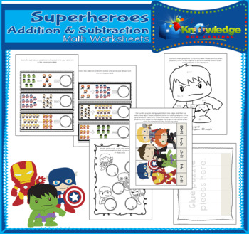 Super Heroes Addition & Subtraction Math Worksheets