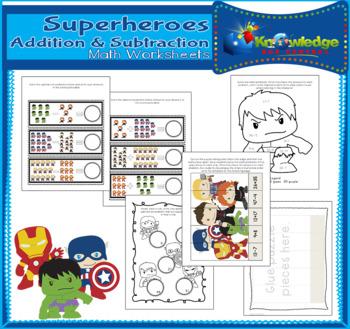 Super Heroes Addition & Subtraction Math Worksheets