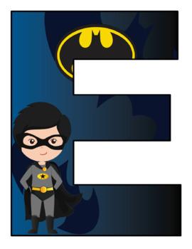 Super Heroes  Alphabet letters 8 x 10 Size
