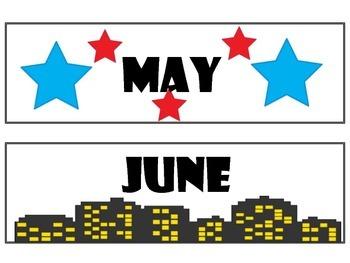 Super Heroes Calendar Months