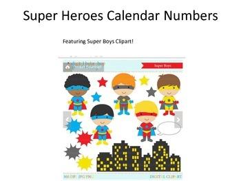 Super Heroes Calendar Numbers