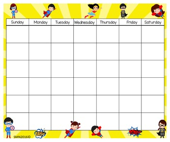 Super Heroes Calendar & Numbers 24x20
