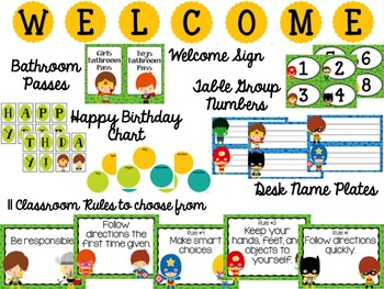 Super Heroes Themed Classroom Decor Pack - Editable