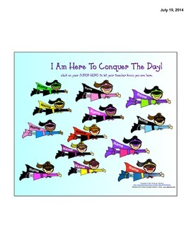 Super Heroes Conquer The Day-SmartBoard Attendance
