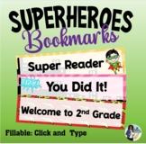 Super Heroes Editable Bookmarks