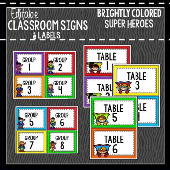 Super Heroes: Editable Classroom Signs & Labels