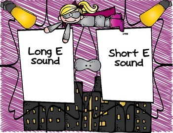 """Super Heroes I Have Who Has long and short E sound and """"ea"""" sounds word sort"""