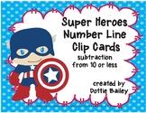 Super Heroes Number Line Subtraction Clip Cards