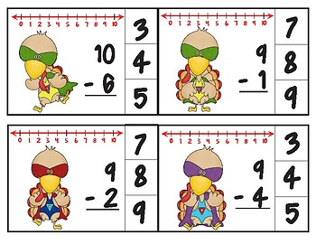 Super Turkey Number Line Subtraction Clip Cards