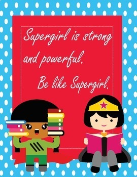 "Super Heroes Reading Growth Mindset Posters -8.5""x11"",18""x24""-Ready for Printing"