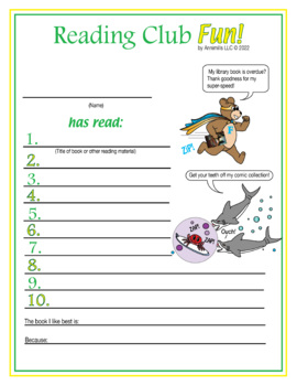 Super Heroes Reading Log and Certificate Set