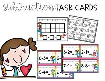 Super Heroes Subtraction Task Cards
