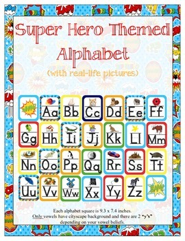 Super Heroes Themed ABC Printables (w/ real pictures)