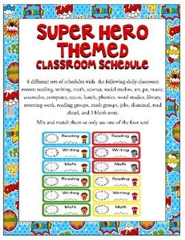 Super Heroes Themed Classroom Schedule