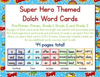 Super Heroes Themed Decor Dolch Word Cards (Pre-Primer-3rd Grade)