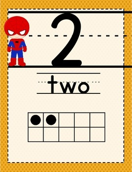 Super Heroes Themed Number Posters 0-20