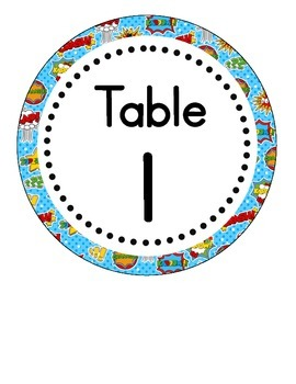 Super Heroes Themed Table Numbers (only)