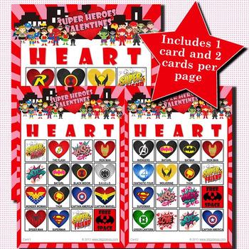 Super Heroes Valentines 4x4 Bingo 30 Cards