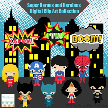 Super Heroes and Heroines Series 1 Digital clip Art Set