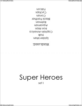 Super Heroes (set I) Picture Flashcards