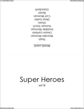 Super Heroes (set III) Picture Flashcards