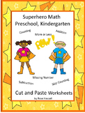 Superhero Math Cut and Paste Preschool, Kindergarten,Special Education Math