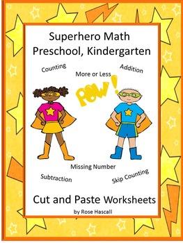 Superhero Math Cut and Paste Worksheets