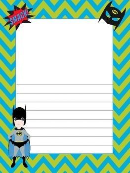 Super Heros Thematic Writing Paper...Fun Comtemporary Colors