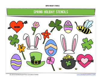 Super Holiday Stencils - Spring Edition - 8 fun designs
