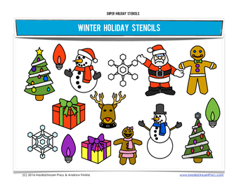 Super Holiday Stencils - Winter Edition - 8 fun designs