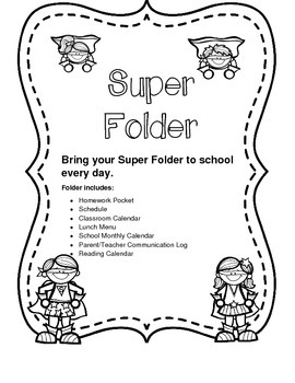 Homework Folder Super Hero Theme