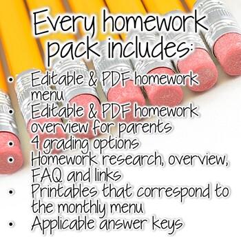 A YEAR of Third Grade Homework {390+ NO PREP Printables,Menus,and Extras}