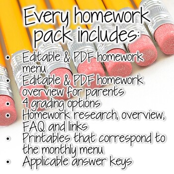 A YEAR of Third Grade Homework Menus & Printables SUPER BUNDLE