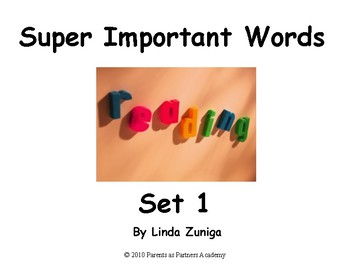 Super Important Words Set 1 For Printing