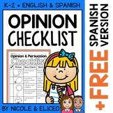 Persuasive Opinion Writing Checklist