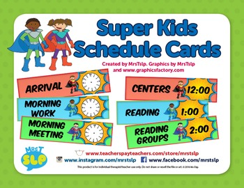 Super Kids Editable Schedule Cards