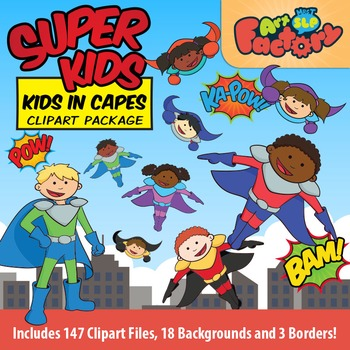 Super Kids - Kids in Capes - Superhero Clipart Package